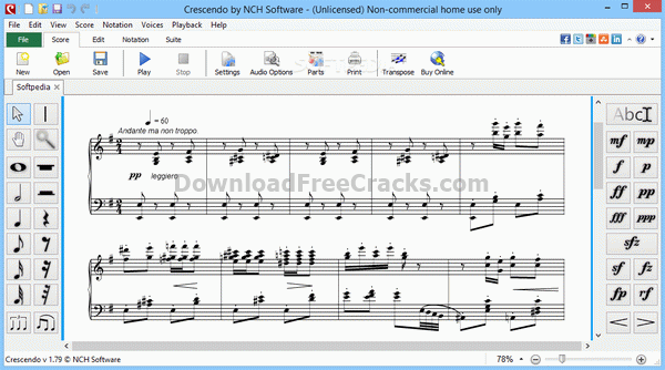 Crescendo Music Notation Editor